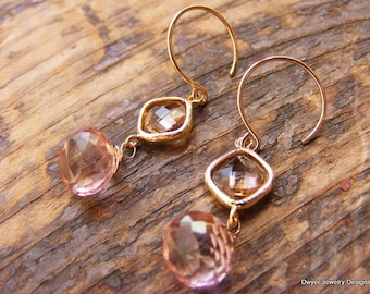 Mystic Pink Quartz Briolette Earrings with Champagne Glass Connector.