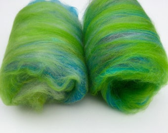 Merino silk spinning batts-blue green