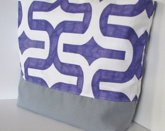 Purple and Gray Tote Bag . Beach Bag . Embrace . standard size . teachers tote MONOGRAMMING Available