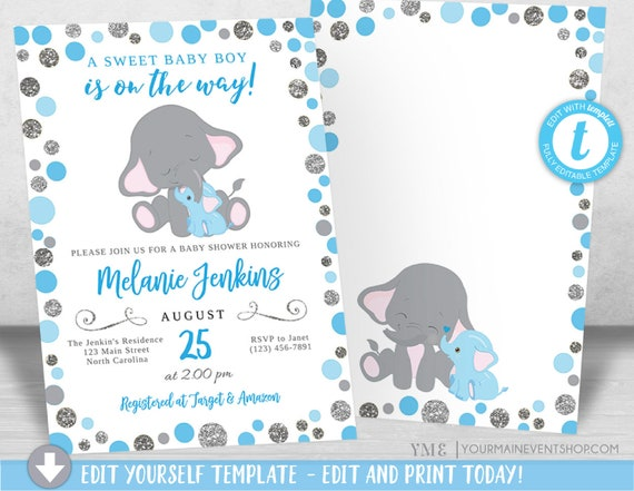 Boy Elephant Baby Shower Invitation, Blue and Silver Elephant Baby Shower, Jungle Baby Shower Invite, It's a Boy, Diaper Raffle Book Request