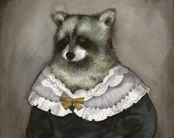 "raccoon art - ""Hildegard""-  watercolor print - Illustrious Forest Collection"