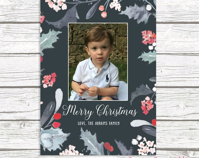 Floral Photo Christmas Card, Watercolor Christmas Photo Card, Holly Christmas Card, Photo Holiday Card, Watercolor Floral Christmas Ca