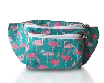 Flamingo Fanny Pack (Multiple Sizes, Blue and Pink)