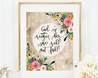 Psalm 46:5 God is within her she will not fall Bible verse wall art print Christian watercolor floral print nursery verse printable 8x10