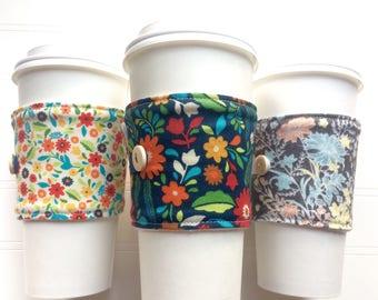Coffee Cup Cozy, Mug Cozy, Coffee Cup Sleeve, Cup Cozy, Cup Sleeve, Reusable Coffee Sleeve - Fall Florals Cream Navy Grey [104-106]