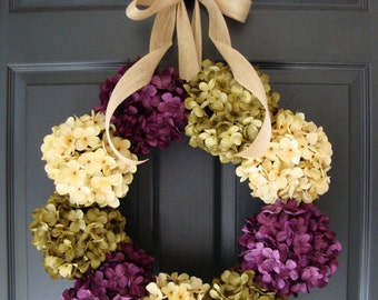 Hydrangea Wreath | Wreaths | Front Door Wreaths | Spring Wreath | Summer Wreath | Outdoor Wreath | Housewarming Gift