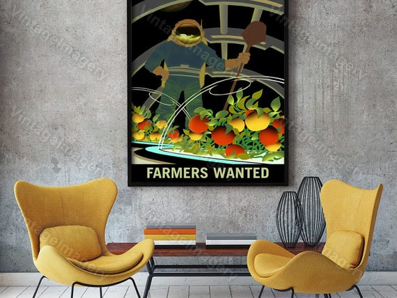 Farmers Wanted on Mars 2016 NASA/JPL Space Travel Farming Poster Space Art Great Gift idea for Farmers Office, man cave, Wall Art Home Decor