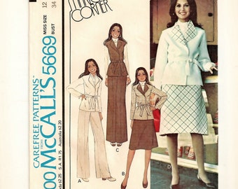 "A Coordinates Pattern for Women: Rolled Lapel, Belted Jacket & Vest, Bias A-Line Skirt, Pants - Uncut - Size 12, Bust 34"" • McCall's 5669"