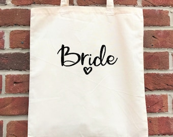 Bride tote bag, personalised for the bridal party-bridesmaid, mother of the bride. Perfect wedding party gift or hen party/bachelorette gift