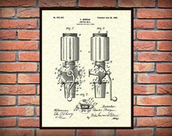 Patent 1900 Coffee Mill - Arcade Crystal Coffee Grinder - Wall Art Print - Kitchen Art- Poster - Restaurant Wall Art - Coffee Shop Wall Art