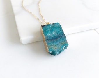 Teal Druzy Necklace. Geode Necklace. Druzy Jewelry. Stone Necklace. Teal Aqua Gold Necklace.  Chunky Necklace. Gift.