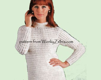 Crochet Look KNITTED Sweater Vintage Knit Pattern PDF 958 from WonkyZebra