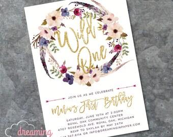 Wild ONE First Birthday Invitation with Gold Glitter
