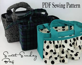 Sweet Sunday Bag by Toriska, PDF sewing pattern, purse pattern, bag pattern, downloadable digital file, purse tutorial, scripture bag, tote