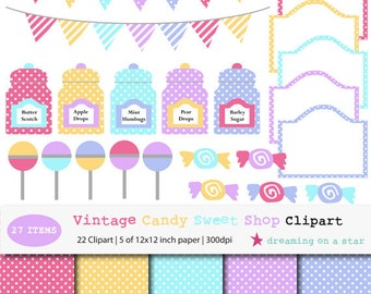 Candy Clip Art, Bunting Clip Art, Candy Shop Clip Art, Candy Digital Scrapbook, Sweet Clip Art, Vintage Candy Clipart, Commercial Use