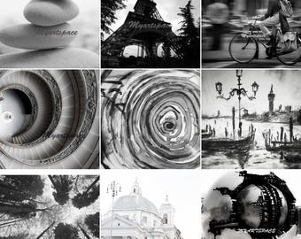 Minimalism, gallery wall Black white 9 pieces gallery wall, amazing value, art prints and photography, Rome, Paris, Vatican, Venice,