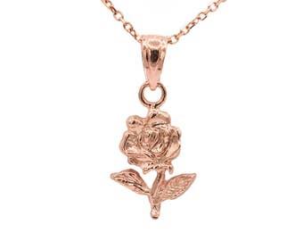 10k Rose Gold Rose Necklace