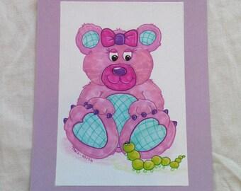 "Original drawing ""Ready-to-frame"" Teddy bear pink"
