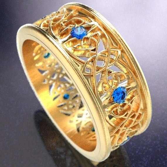 Gold Celtic Wedding Ring With Cut-Through Celtic Butterfly Design & Blue Sapphires in 10K 14K 18K or Palladium, Made in Your Size Cr-1040