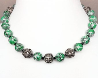 Green Mosaic Magnesite Black Onyx Bead Necklace