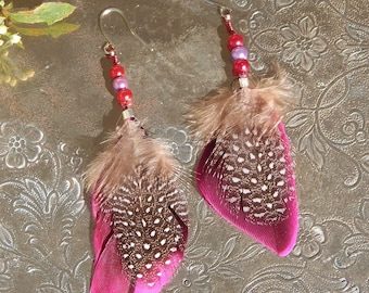 Feather Earrings Rose Guinea Feathers