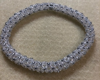 Silver and White Chenille Bangle Bracelet
