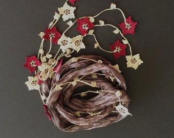 Dainty Silk Necklace, Skinny Wrap Scarf, Beaded Necklace, Jewelry Scarf, Crochet Oya Foulard, Women Gift, Crochet Jewelry, Anniversary Gift