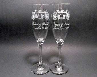 Tandem Bicycle Champagne Flutes - Set of 2 Wedding Toasting Flutes