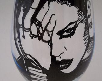 Rihanna,  Hand Painted Glass, Painted Wine Glass