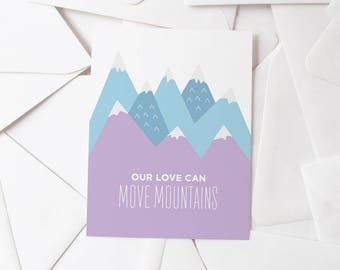 Move Mountains   Love Greeting Card   Valentine's Day Card   Blue & Purple