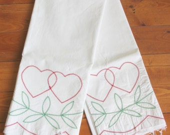 2 Vintage Partially Finished Heart Motif Cotton Pillowcases