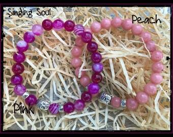 Peach agate, Pink agate, Buddha Bracelet, Meditation bracelet, Zen jewelry, Healing crystals, healing stones, Reiki Jewelry, yoga jewelry