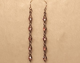 Pink and Silver Tone Link Drop Earrings