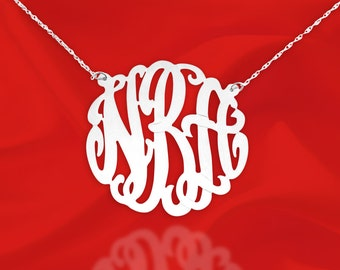 Monogram Necklace - Personalized Monogram Necklace - 1.25 inch Sterling Silver - Custom Name Initial Necklace - Made in USA