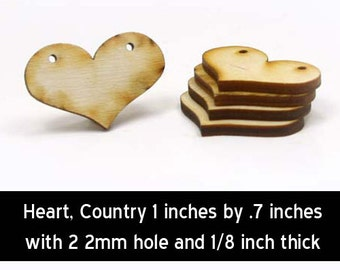 Unfinished Wood Heart Country - 1 inch wide by 3/4 inches tall and 1/8 inch thick with 2 2mm holes (HART05)