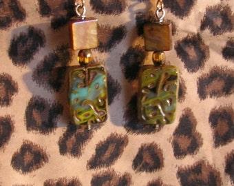 Ocean Blue and Green Czech Glass Earrings by Denise Sloan