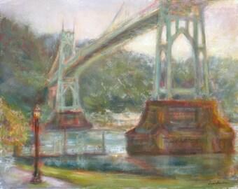 Last Light, St. Johns Bridge, Print of original Impressionist Oil on Canvas Painting