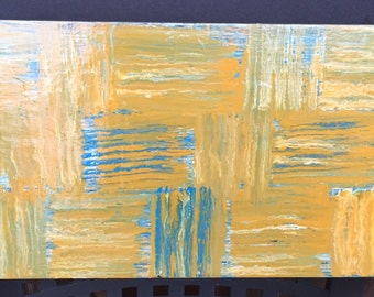 Signed Original Painting on Plywood by New Orleans Artist - Yellow, Blue, White - Made in the USA