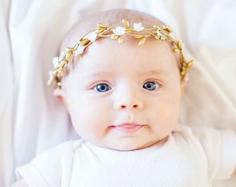 Baby flower crown, Newborn photography prop, Flower girl, flower headband, Baby girl, baby flower headpiece, Photo shoot accessory