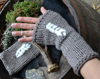 Knitted handwarmers, knitted hand warmers, wool hand warmers, wool handwarmers, gray handwarmers, gray mittens,  woodland accessory