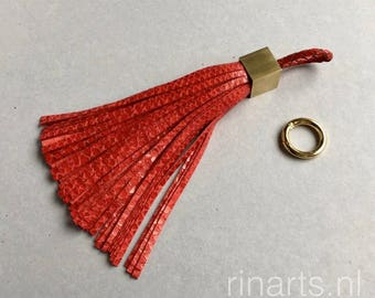 Tassel bag charm / tassel keychain in bright red snake print leather and gold tone solid brass tassel end.Luxury red tassel