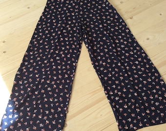 Vintage Style Trousers - Vintage Style Pants - New Look - UK Size 12 - Blue Trousers - Floral Trousers - Wide Leg Trousers - Plaza Pants -