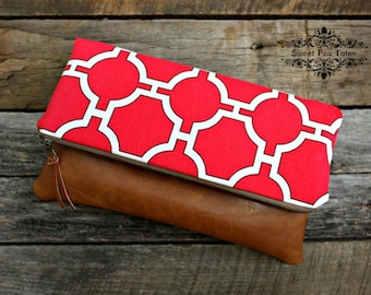 Red Geometric Foldover Clutch / Kindle Case