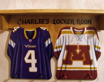 Custom Double Jersey Wall Hangings with Shelf and Pegs
