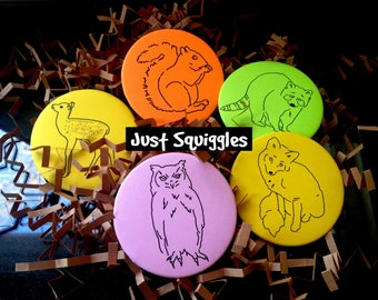 Woodland Creatures Gift Set - 5 Coloring Pinback Buttons with Crayons & More