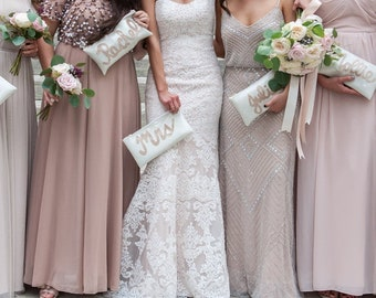Custom Bridesmaid Glitter Clutches! Name clutches for bridesmaids, bridal party gift, wedding party, custom clutch, adorable sparkle clutch
