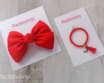 Adorable Fabric Red Hair Bow, girls hair bows,baby hair bows, Packininny hair bow, Big hair bows, With Bead Charm Bracelet, 6 Colors to Pick