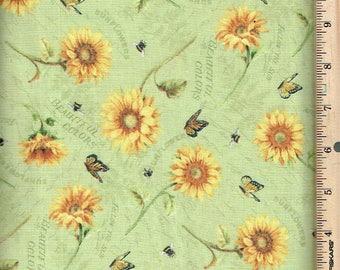 Follow the Sun, Sunflowers,w/ Bees,Butterflies on light sage ,Wilmington
