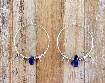 """""""Etnica"""" Sodalite and 925 sterling silver hoop earrings"""