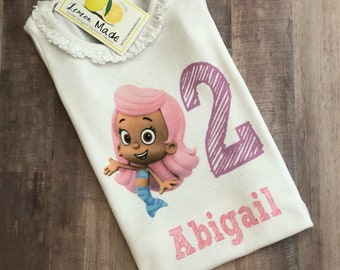 Bubble Guppies Birthday Shirt with name and number